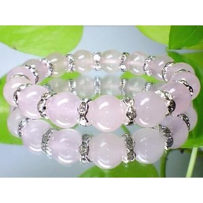 癒し石ローズクォーツ紅水晶10ミリ銀ロンデル数珠