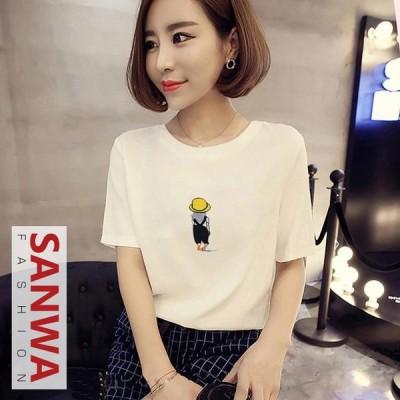 Tシャツ レディース 春 夏 半袖 ブラウス ラウンドネック   シャツ トップス 丸首 女性 大きいサイズ 20代 30代