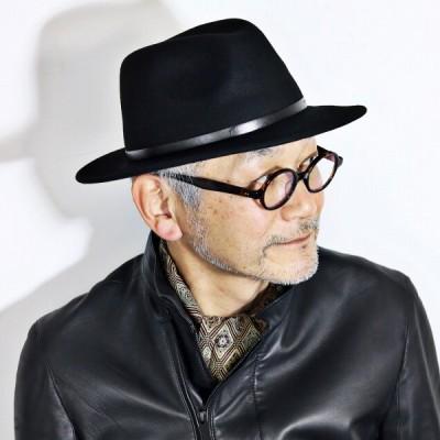 秋 冬 メンズ 中折れ ウールフェルト 大きいサイズ イタリアブランド  Sorbatti クラッシャブル ソルバッティ 帽子 ブラック 黒