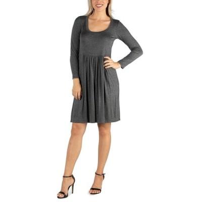 24セブンコンフォート ワンピース トップス レディース Women's Knee Length Pleated Long Sleeve Dress Gray