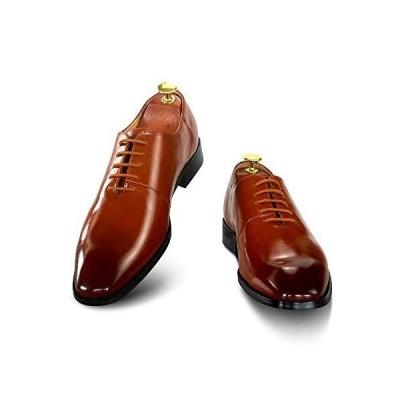[Generies] 【Haza Pairs】ビジネスシューズ 合成皮革 革靴 紳士靴 メンズ ドレスシューズ 本革 プレーントゥ 褐色