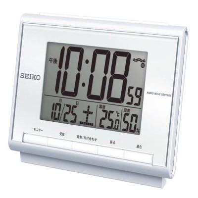 SEIKO セイコー 目覚まし時計 電波 デジタル カレンダー・温度・湿度表示 白パール SQ698S【お取り寄せ】