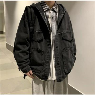 コート メンズ ジャケット メンズファッション マウンテンパーカー アウトドアウェア トップス ゆったり デニム 無地 長袖 ロングコート 春夏