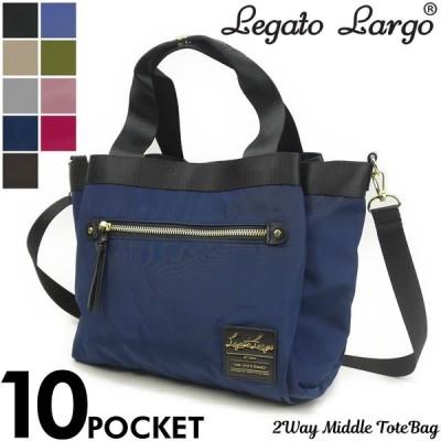Legato Largo(レガートラルゴ) 高密度ナイロン調10ポケットミドルトートバッグ ショルダーバッグ 2WAY LH-F1051 レディース