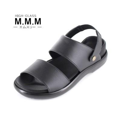 サンダル メンズ M.M.M. エムスリー コンフォートサンダル ソフトインソール 95 黒 3E 室内履き 紳士 靴 日本製