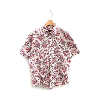 【中古】バーバリーブラックレーベル BURBERRY BLACK LABEL シャツ 半袖 花柄 総柄 コットン 3 白 赤 /MF41 ●D メンズ 【ベクトル 古着】