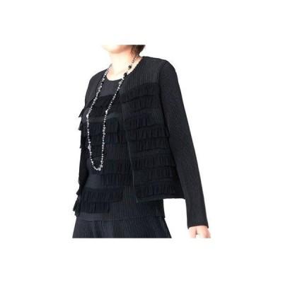スペッチオ SPECCHIO ティアードフリルテープ刺繍シャトル ノーカラージャケット (ブラック)