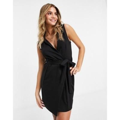 フラウンスロンドン レディース ワンピース トップス Flounce London tie waist blazer dress in black