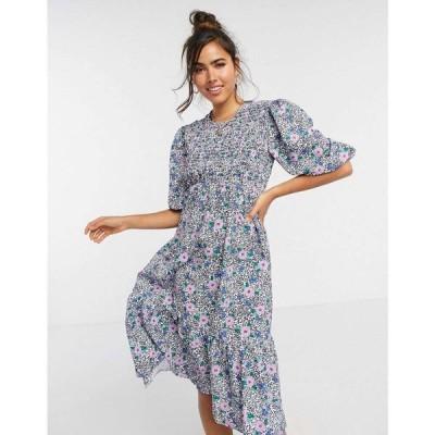 ジョンザック John Zack レディース ワンピース ワンピース・ドレス Shirred Bust Detail Midaxi Smock Dress In Blue Floral Print マルチカラー