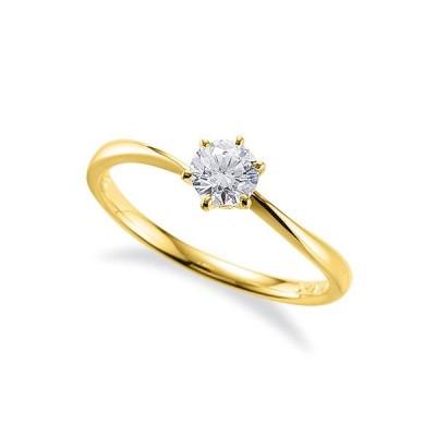 指輪 18金 イエローゴールド 天然石 一粒リング 主石の直径約4.4mm ソリティア ウェーブ 六本爪留め K18YG 18k 貴金属 ジュエリー レディース メンズ