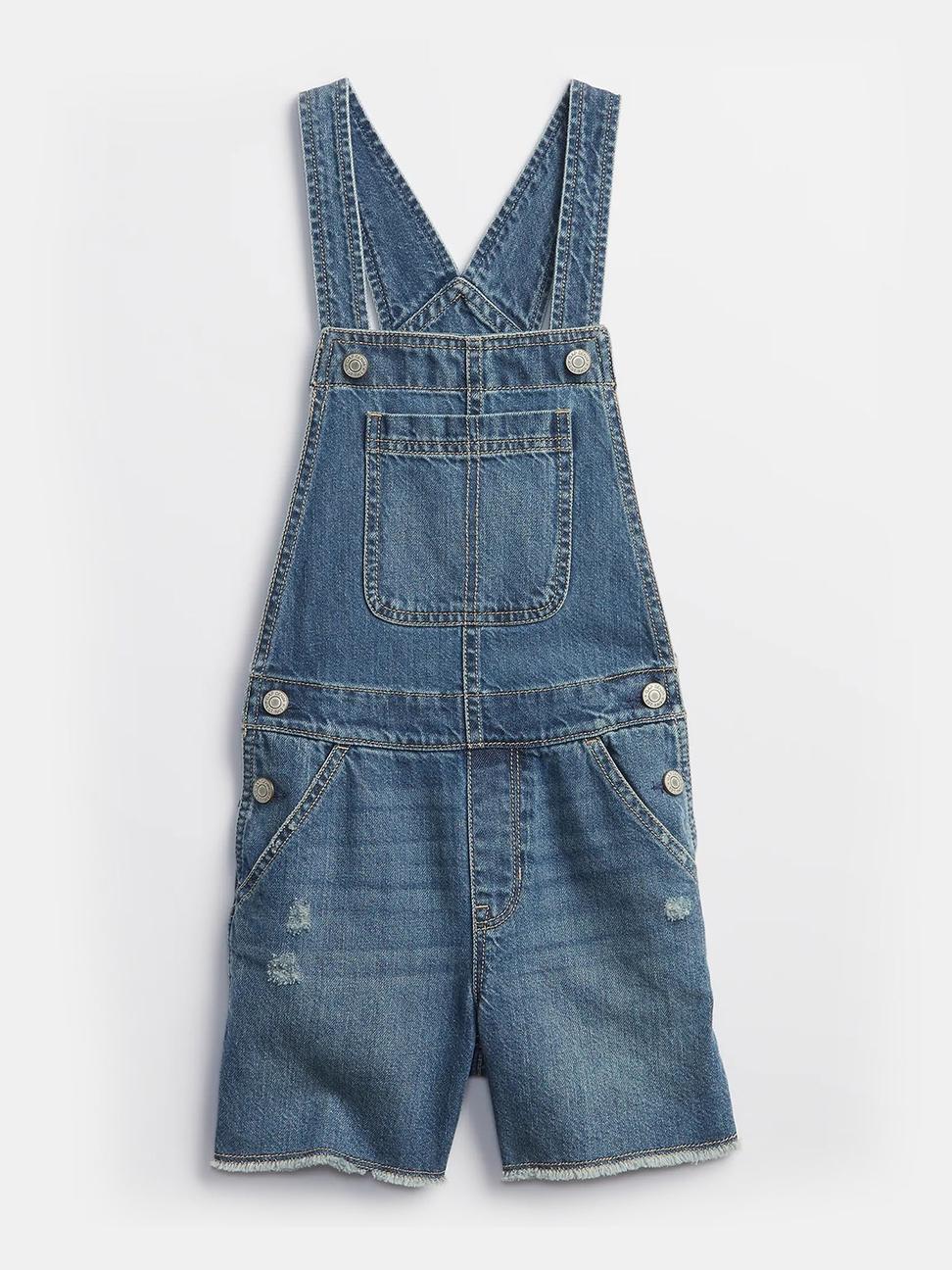 女童 工裝牛仔吊帶短褲