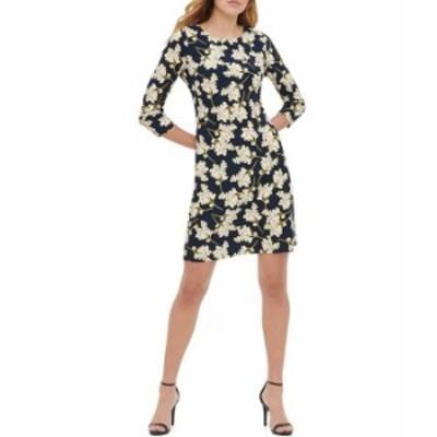 トミー ヒルフィガー レディース ワンピース トップス 3/4 Sleeve Blossom Printed Jersey Sheath Dress Sky Captain Multi