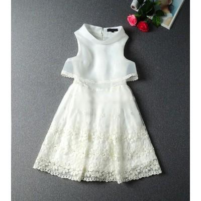シースルーバックリボン☆オーガンザ 刺繍ビーズレースドレス