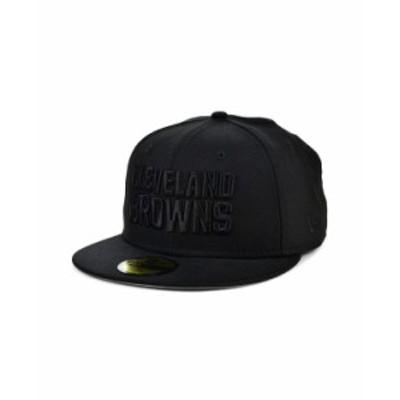 ニューエラ レディース 帽子 アクセサリー Cleveland Browns Black on Black 59FIFTY Cap Black