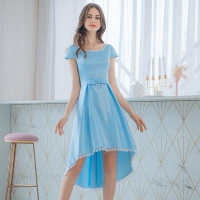 OMUSES 珠飾刺繡前短後長藍色禮服