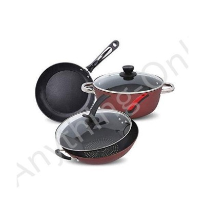 新品 Pan Set Hard Anodized Nonstick Cookware Pots and Pans Set, 3 Piece, Red With Gray Handles Cookware Sets Saucepans Frypan Set Tower