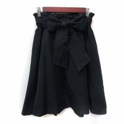 【中古】ボンメルスリー BON MERCERIE フレアスカート ギャザー ひざ丈 ウエストマーク 36 黒 ブラック レディース