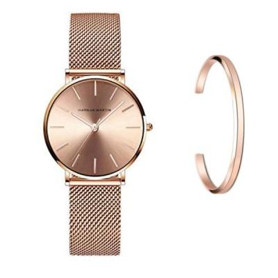 Hannah Martin レディース 腕時計 おしゃれ クラシック シンプル 女性 時計 ビジネス クォーツ (ローズゴールド)