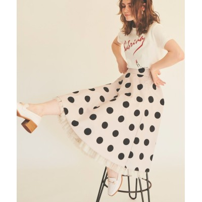 (31 Sons de mode/トランテアンソンドゥモード)裾チュールミディ丈柄スカート/レディース ベージュ
