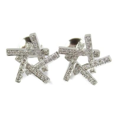 ティファニー アクシス ダイヤ ピアス K18WG(750) ホワイトゴールド x xPT950(プラチナ) x ダイヤモンド  ランクA