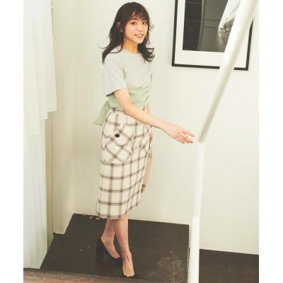 【トランテアン ソン ドゥ モード】 ビックポケットチェックタイトスカート レディース オフホワイト 36(S) 31 Sons de mode
