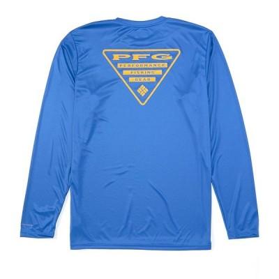 コロンビア メンズ Tシャツ トップス PFG Terminal Tackle Triangle Logo Long-Sleeve Tee Vivid Blue/Bright Nectar Logo