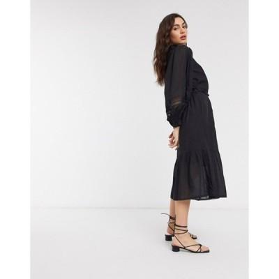 リバーアイランド レディース ワンピース トップス River Island puff sleeve shirt dress in black