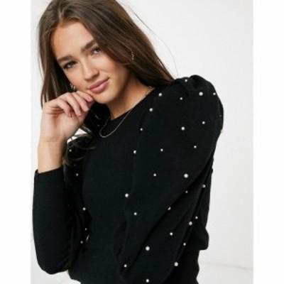 キューイーディーロンドン QED London レディース ニット・セーター トップス Pearl Embellished Puff Sleeve Jumper In Black ブラック