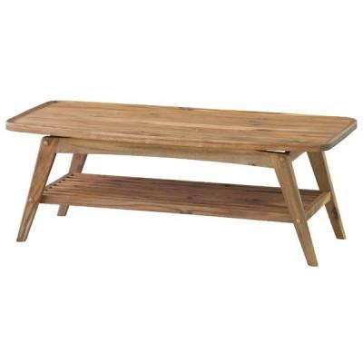コーヒーテーブル カフェテーブル 幅110cm 木製 棚付き 収納付き ローテーブル センターテーブル リビングテーブル 座卓