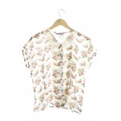 【中古】REBUS-DAINE シャツ ブラウス レース 花柄 キャップスリーブ 半袖 白 ホワイト /M2N9 レディース