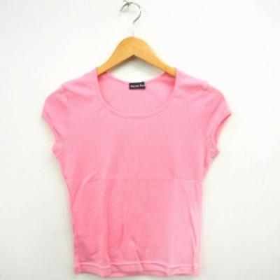 【中古】SAZUN FORK Tシャツ カットソー 無地 シンプル 丸首 半袖 コットン 綿 M ピンク /MT9 レディース