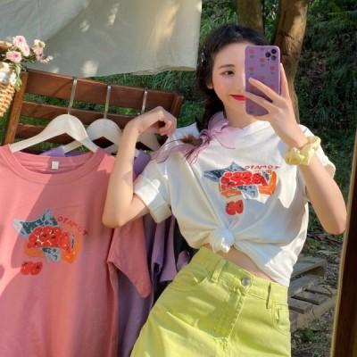 ロゴ プリント Tシャツ 韓国 オルチャン ストリート 原宿系 アメカジ ゆったり K-POP 半袖 シンプル トップス レディース