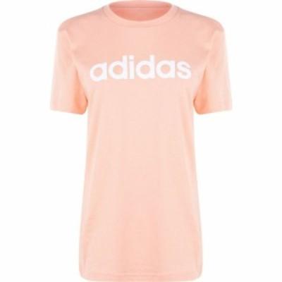 アディダス adidas レディース Tシャツ トップス Linear Boyfriend QT T Shirt Glow Pink