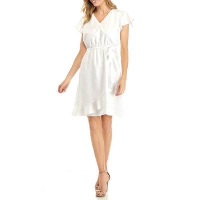 キム ロジャース レディース ワンピース トップス Petite Flutter Sleeve Wrap Dress