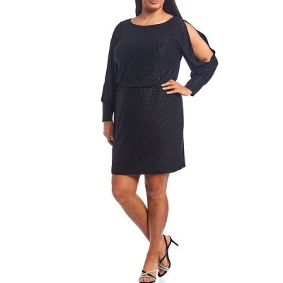ジェシカハワード レディース ワンピース トップス Plus Size Long Sleeve Glitter Jersey Blouson Dress Black