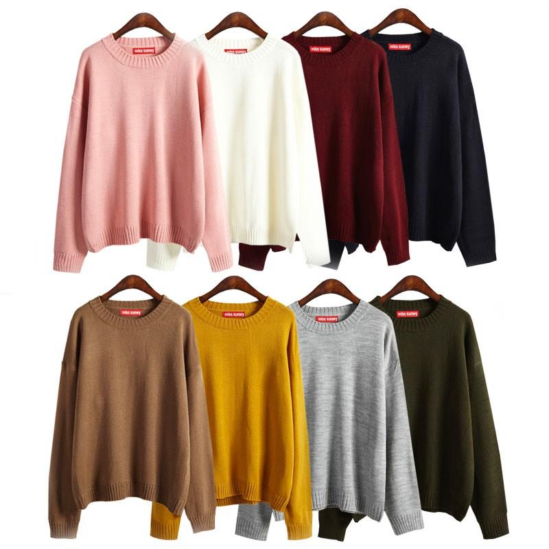 20631 素色基本款圓領毛衣針織衫  百搭多色毛線衫女裝上衣 薄荷美衣