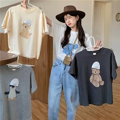 4色 半袖 ラウンドネック 動物柄 Tシャツ ティーシャツ レディース 春夏 chic デザイン 綿100% トップス INS風 可愛い 学生 カジュアル ファッション 甘い