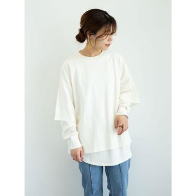 グリーンパークス Green Parks ・SUGAR SPOON SET2点Tシャツ&ロンT (Off White)