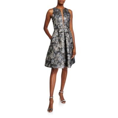 セイア レディース ワンピース トップス Sleeveless Deep V-Neck Illusion Brocade Dress