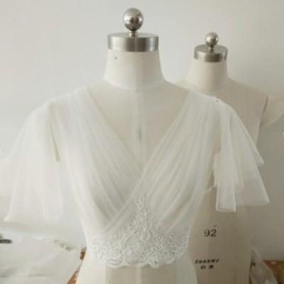送料無料 結婚式ボレロ 花柄レースボレロ 前後深Vネックパフスリープ 編み上げ ウェディングドレス