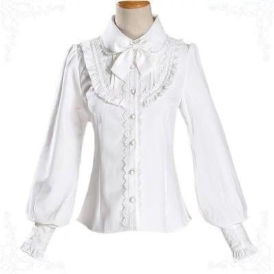 長袖 リボン ピンタック フリル ブラウス ( ホワイト / ブラック ) ロリータ シャツ