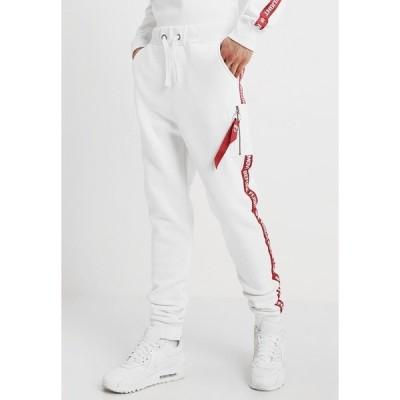 アルファインダストリーズ カジュアルパンツ メンズ ボトムス JOGGER TAPE - Tracksuit bottoms - white