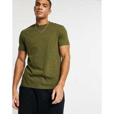 エイソス メンズ シャツ トップス ASOS DESIGN organic t-shirt with crew neck in khaki