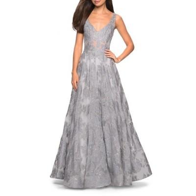 ラフェム ワンピース トップス レディース Lace A-Line Evening Dress Silver