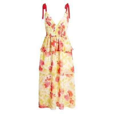 フォーシースリーエヌエヌエー レディース ワンピース トップス Tiered Floral Midi Sundress YELLOW RED FLORAL
