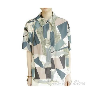 シャツ ロングシャツ レディース 半袖 ブラウス小紋 花柄 襟付き ゆったり POLO襟 体型カバー 大人 シンプル