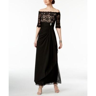 ベッツィアンドアダム Betsy & Adam レディース パーティードレス ワンピース・ドレス Petite Ruched Off-The-Shoulder Gown Black/Nude