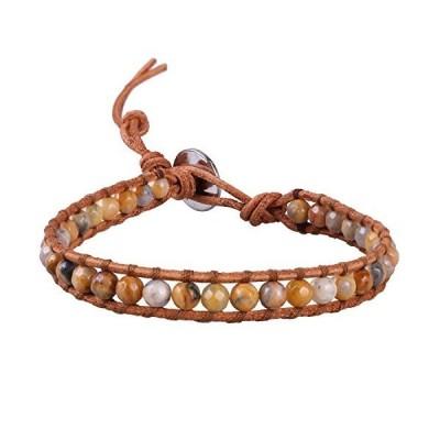 KELITCH 1連 ブラウン レザー ラップ ブレスレット 革 周り 美しい アゲート 数珠 腕輪