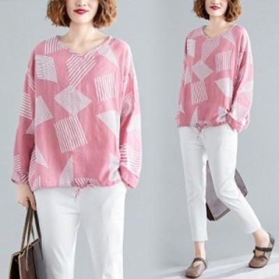 秋 新品 カジュアル 可愛い幾何柄 綿麻 ゆったり 大きいサイズ 長袖 ゆったり シャツブラウス ピンク F