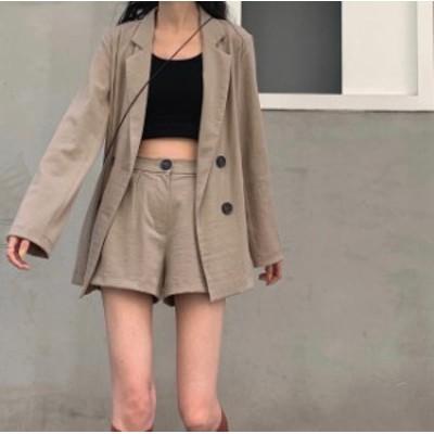 韓国 ファッション レディース セットアップ ジャケット ショートパンツ ハイウエスト ゆったり シンプル 無地 カジュアル レトロ